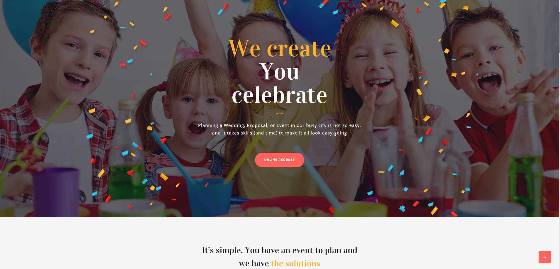 KIDS PARTY, WEDDING PLANNER, EVENTS WEB DESIGN